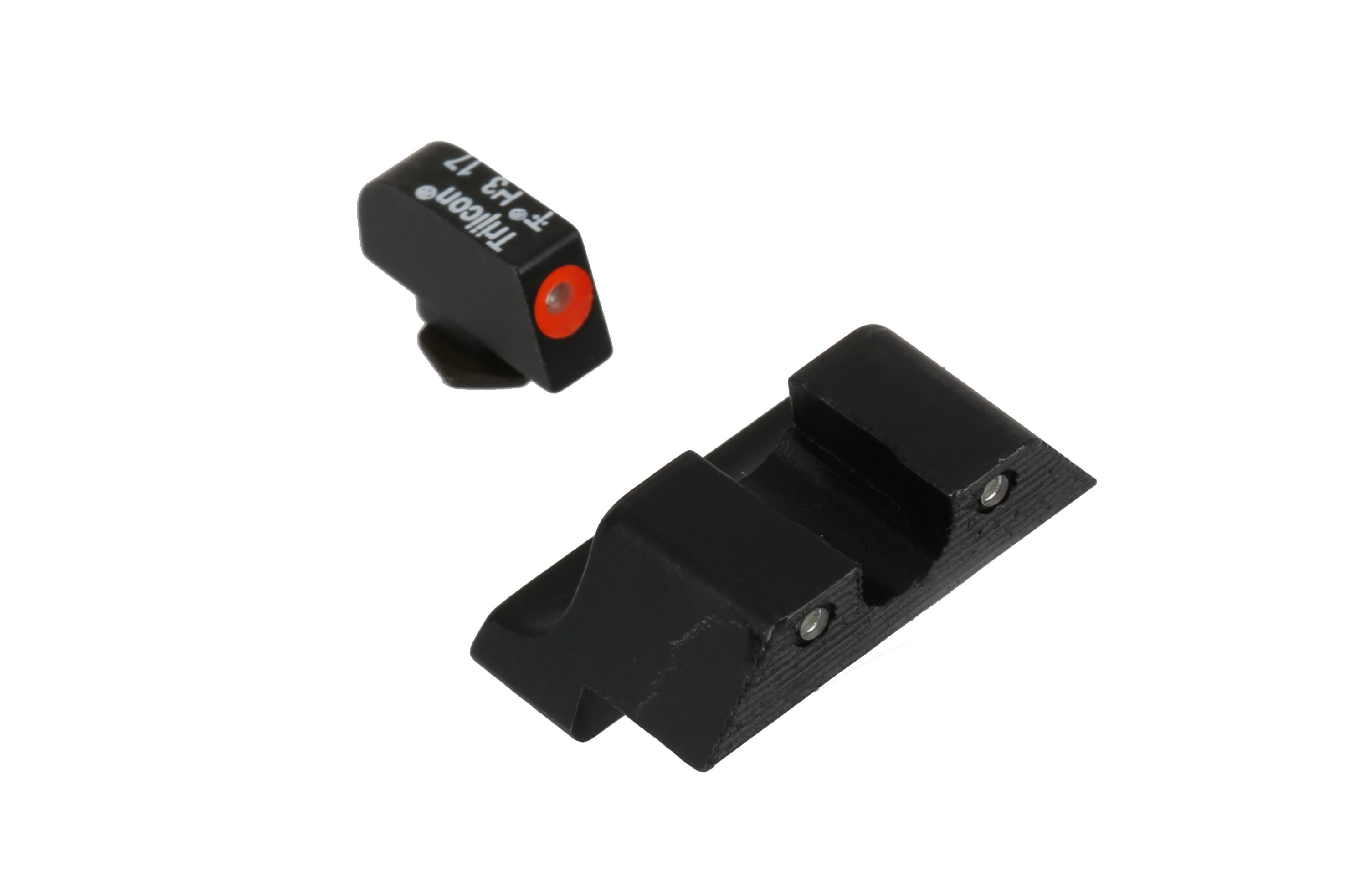 The Trijicon HD XR Night Sights for large frame Glocks feature a green Tritium insert and orange outline
