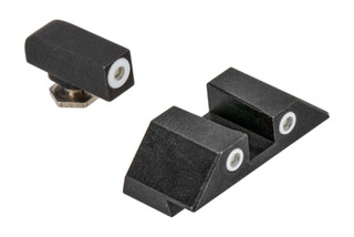 Night Fision Perfect Dot Night Sight Set with square notch, White front and White rear ring for standard Glock handguns.