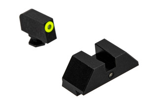 Night Fision Accur8 Perfect Dot Night Sight Set with square notch, Yellow front and Black rear ring for standard Glock handguns.