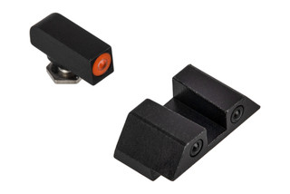 Night Fision Glow Dome night sight set for .45 or 10mm Glock handguns with square notch and orange front sight.