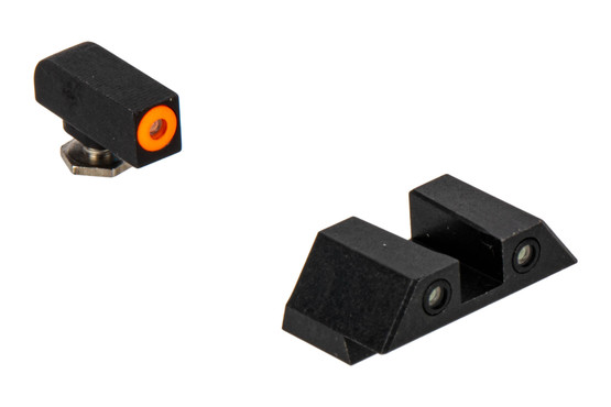 Night Fision Perfect Dot night sight set with square notch, orange front and black rear ring for the Glock G42 G43.