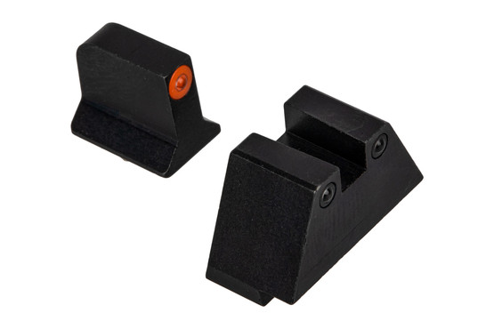 Night Fision Glow Dome Glock Suppressor Height Night Sights features an orange front and square rear
