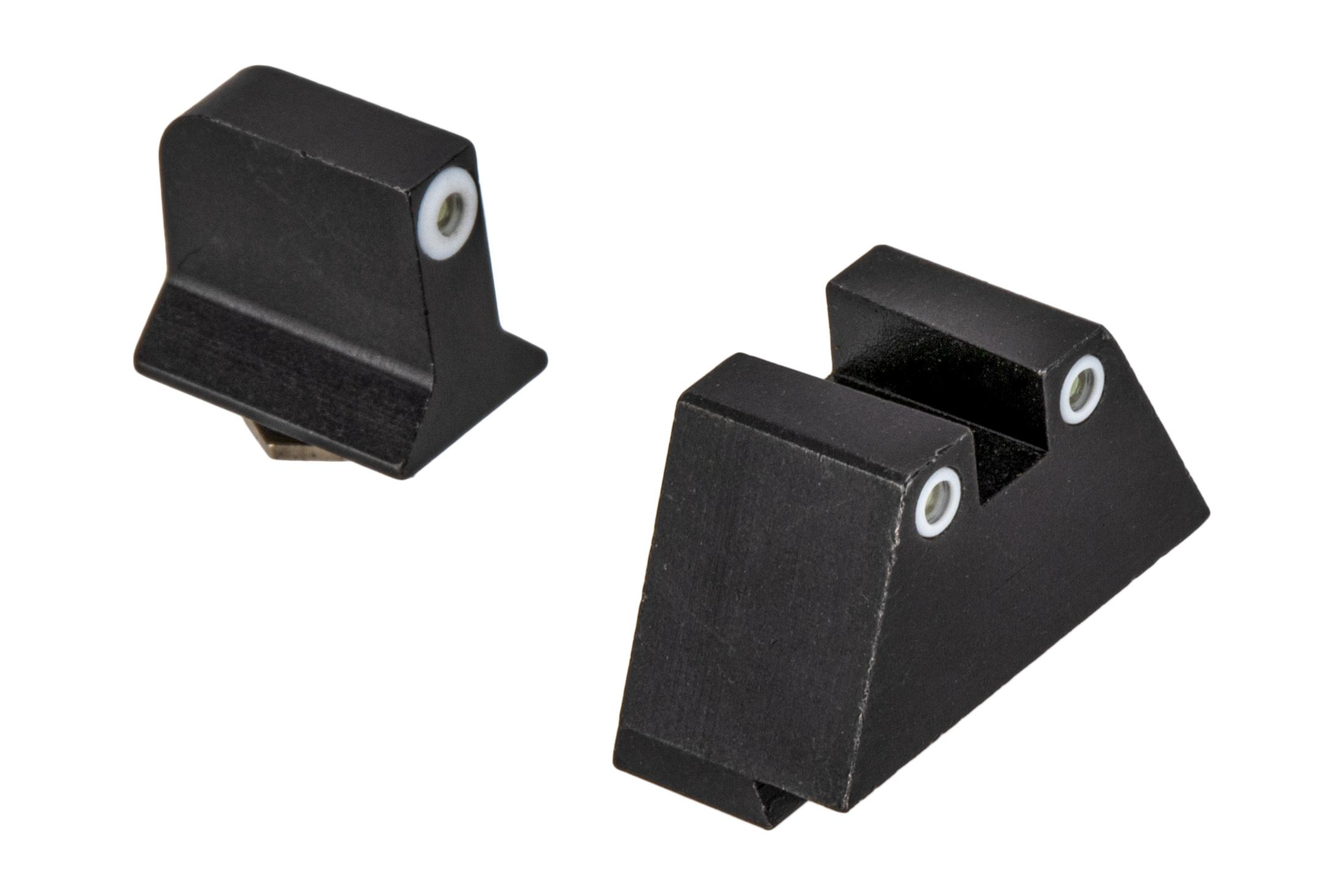 Night Fision Suppressor Height Perfect Dot Night Sight Set with square notch, White front and White rear ring for standard Glock handguns.