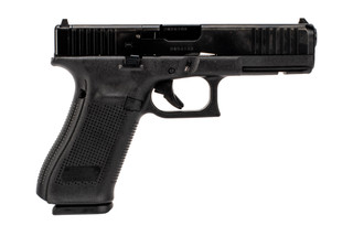 Glock Gen5 MOS G17 full size 9mm polymer frame handgun with 10-round restricted magazines and optics ready slide. Glock G17 Gen5 MOS 9mm full size polymer frame handgun is red dot ready with standard