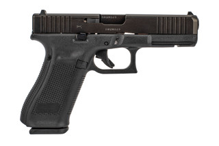 Glock G17 Gen5 with front slide serrations is a full size 17-round handgun with black polymer frame