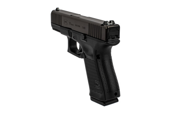 Glock Gen5 19 handgun features an extended magazine release, ambidextrous slide release, and customizable back straps.