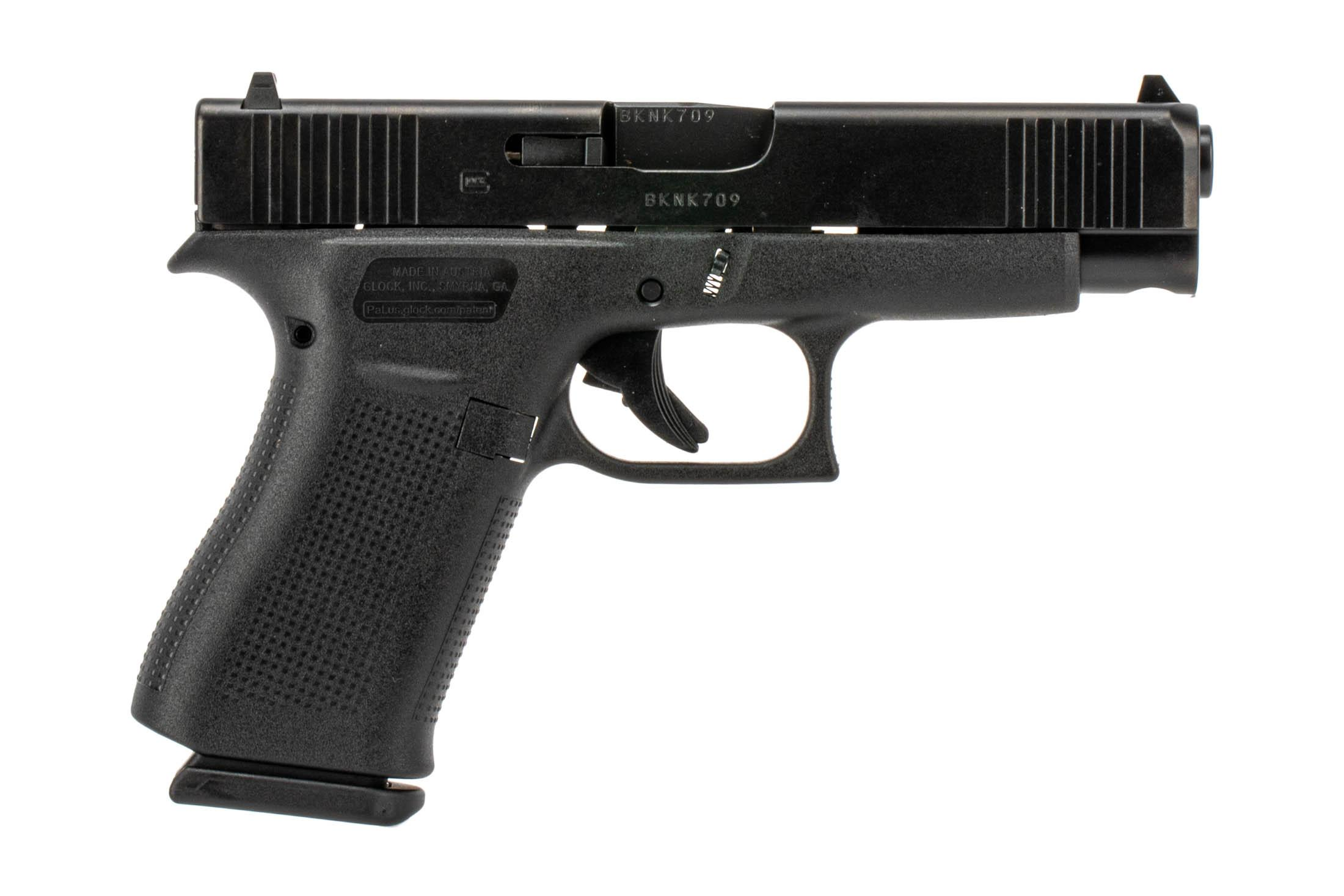 The Glock G48 compact 9mm pistol features a slim profile for concealed carry with tough nDLC black finish