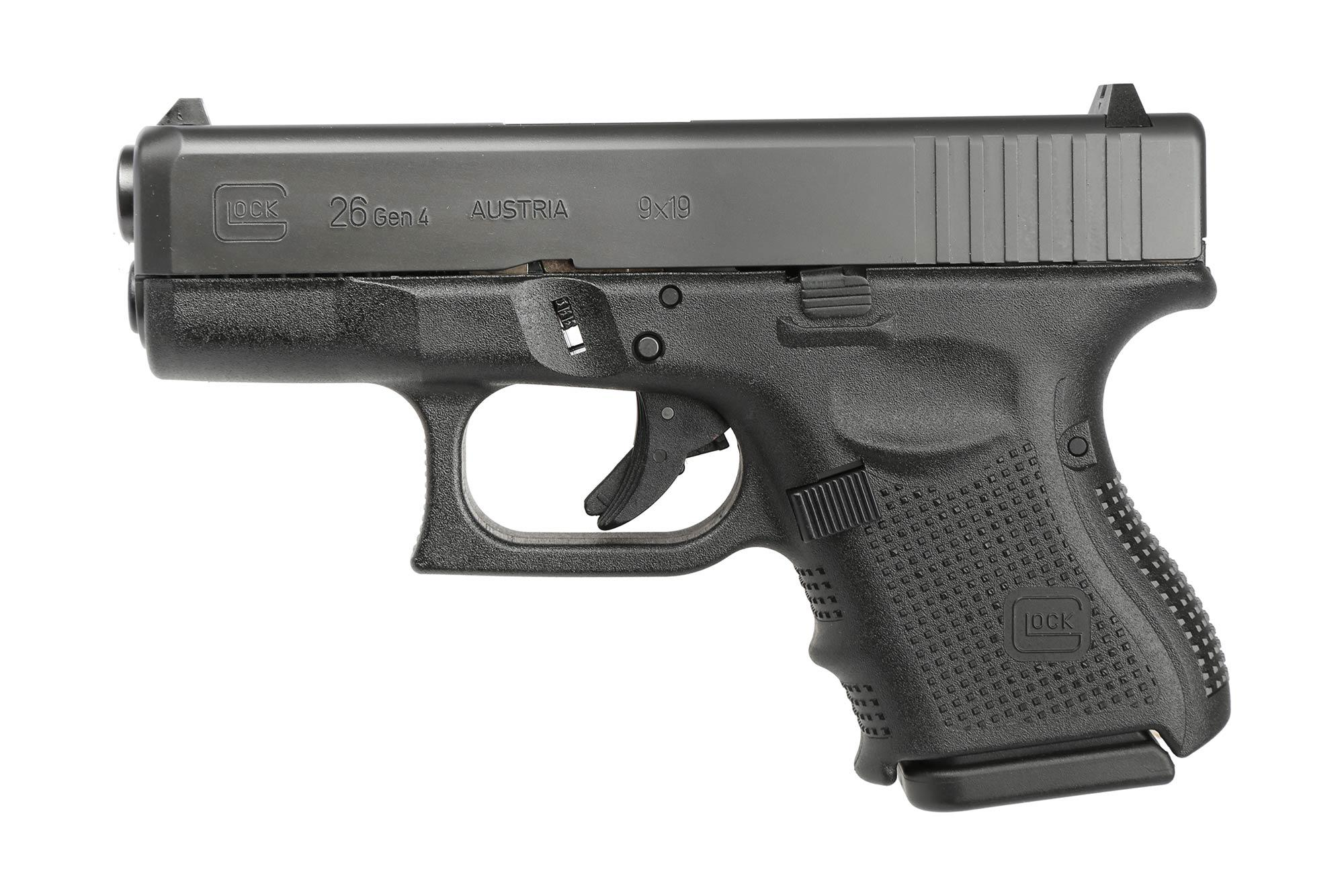 The Glock 26 Gen 4 9mm sub compact handgun features a 10 round capacity and polymer frame