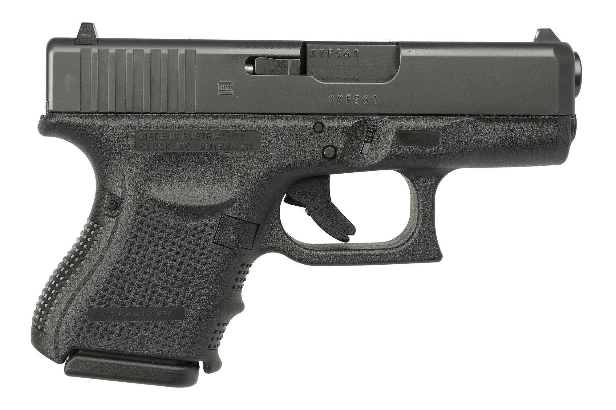 The Glock G26 Gen4 9mm Pistol features a striker fired mechanism and safe action trigger