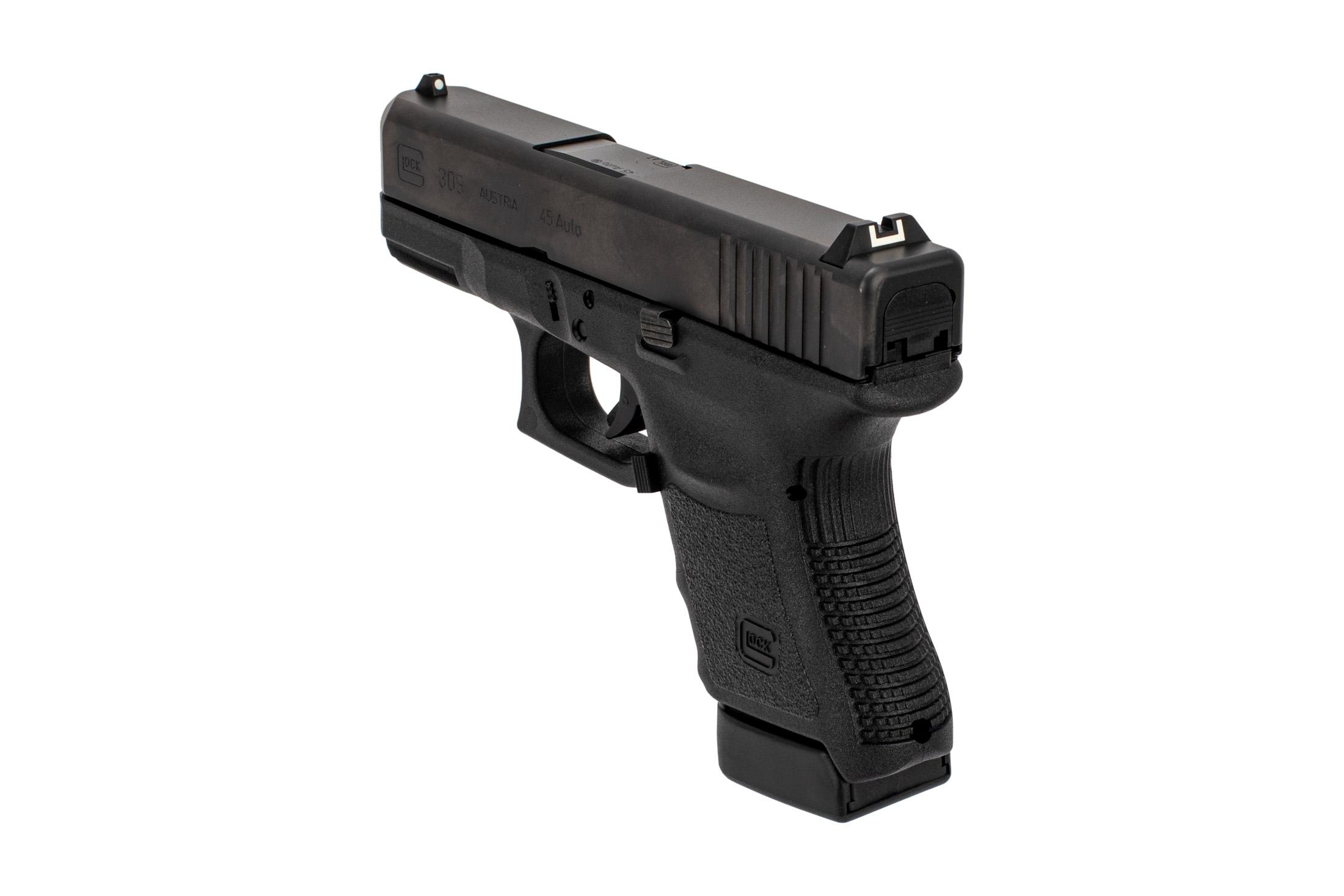 Glock .45 ACP G30 sub compact handgun with dot and bucket sights and lightweight polymer frame.