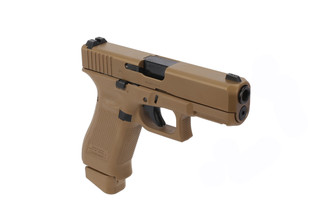 The Glock G19X 9mm pistol features a large frame with a G19 slide