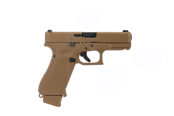 The Glock 19X full size 9mm handgun features a coyote brown nDLC finish