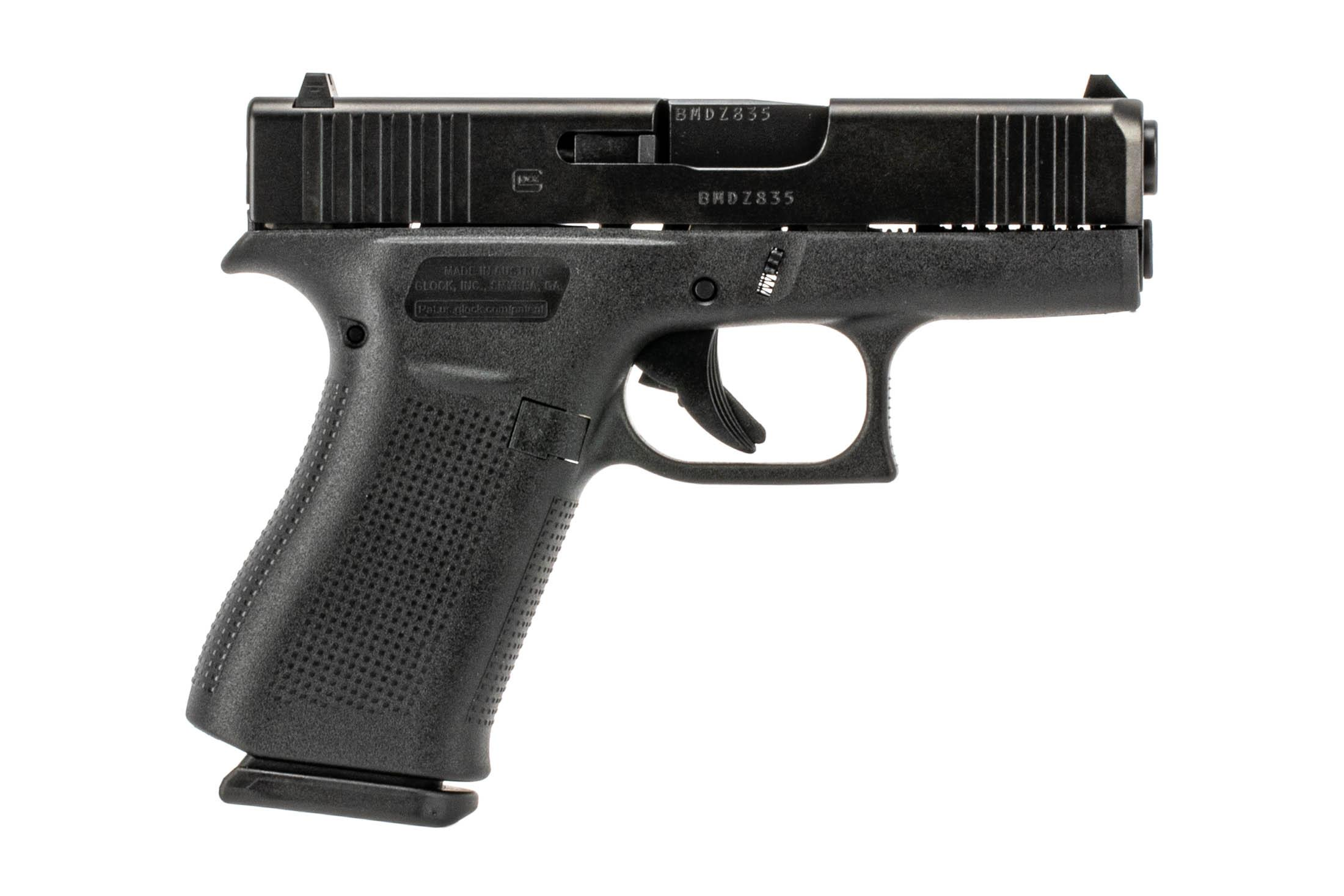 The Glock G43x sub compact 9mm pistol features a slim profile for concealed carry with tough nDLC black finish