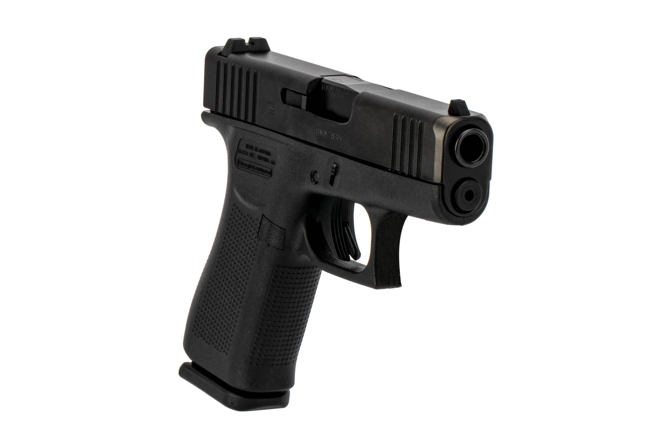 Glock G43x sub compact 9mm handgun with forward slide serrations and black nDLC slide finish