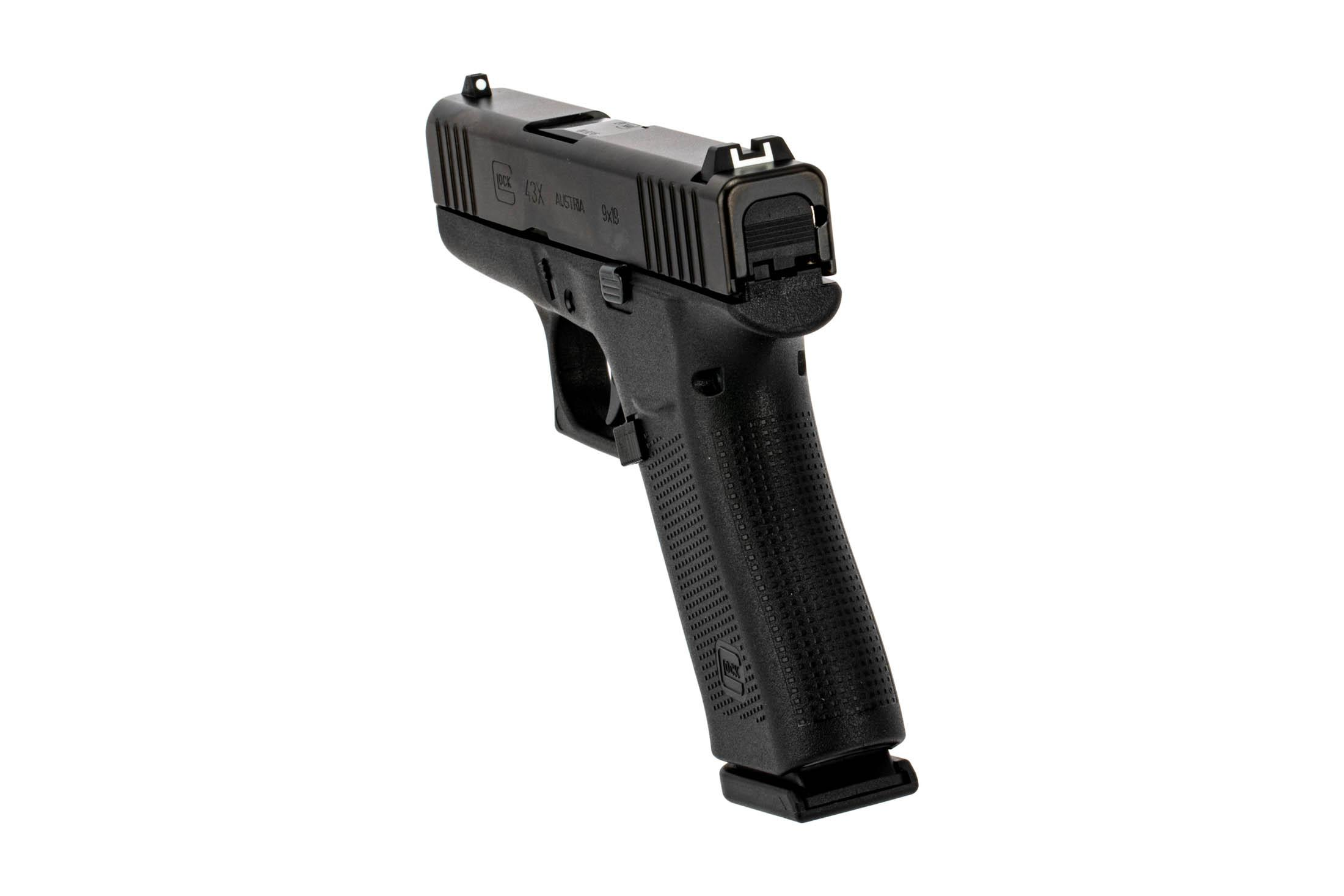 Glock black G43x sub compact handgun in 9mm Luger features reversible mag release and standard sights.