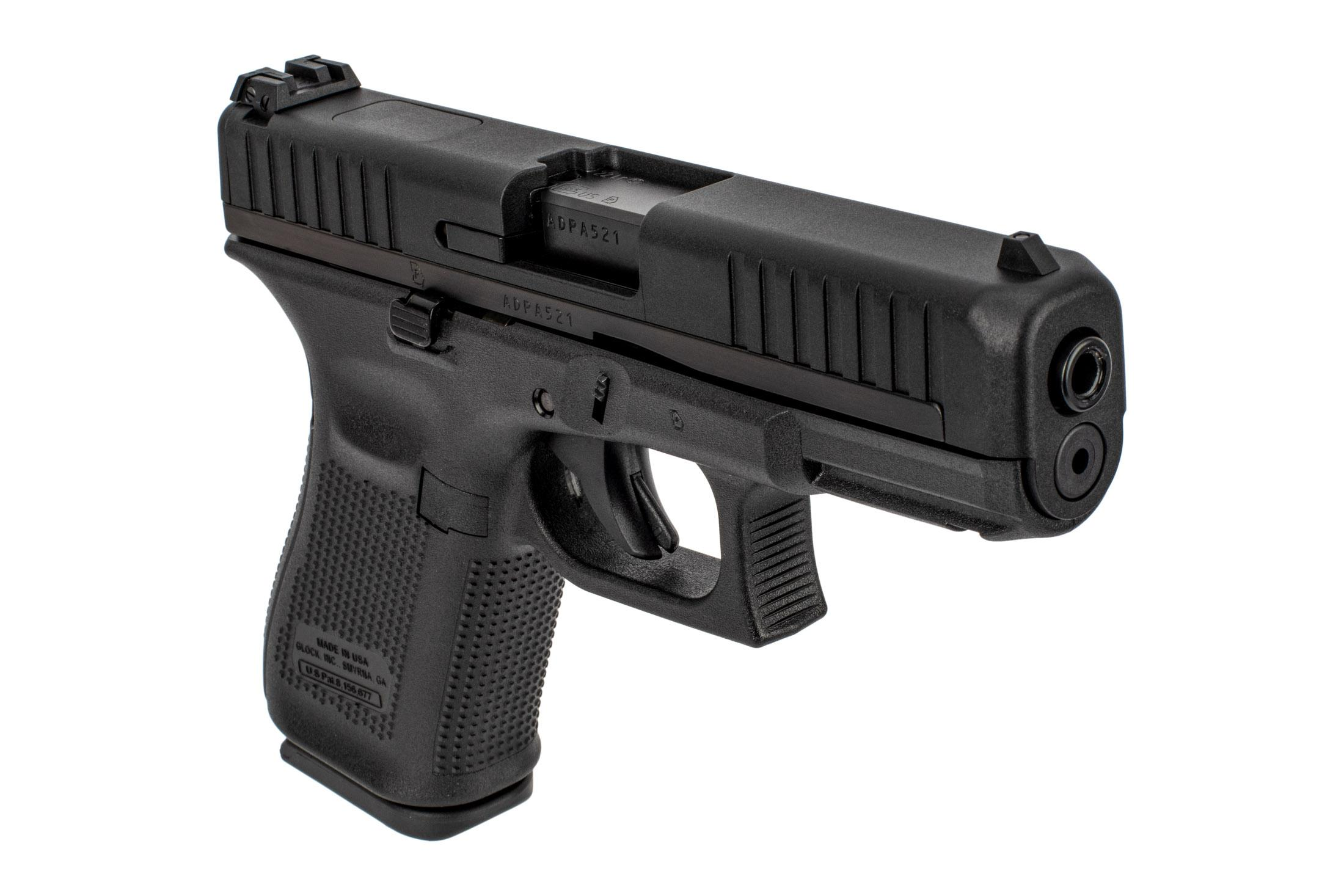 Glock G44 22lr pistol features adjustable rear sights and the Glock Marksman barrel