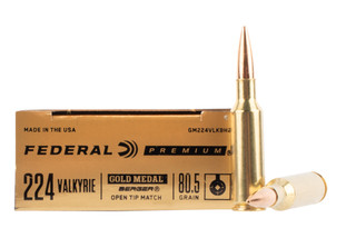 Federal Gold Medal Berger .224 Valkyrie Match ammo is loaded with an open tip boat tail bullet