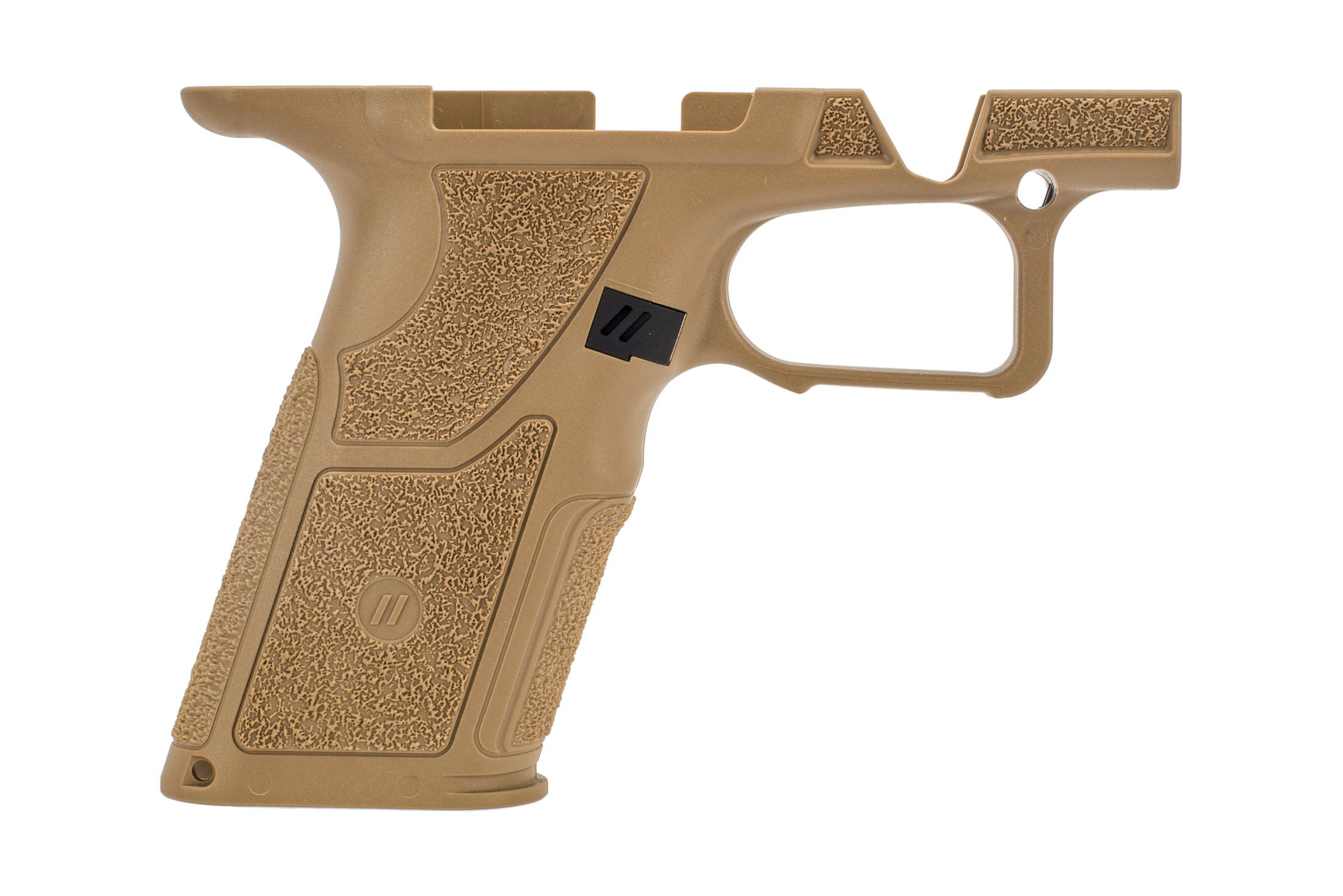 Zev Technologies OZ9 FDE Grip Module is standard size fo use with full size G17 magazines