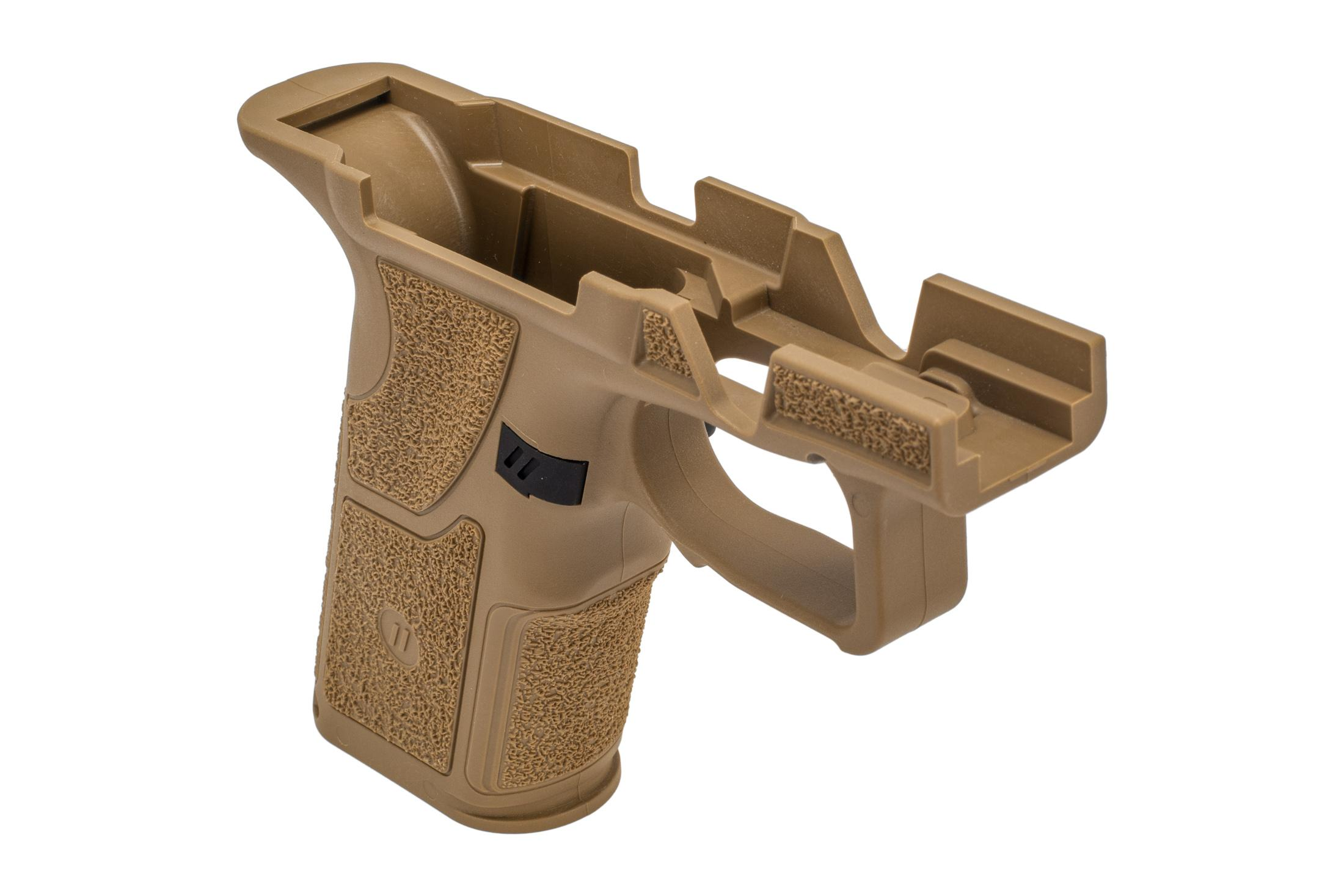 Zev Tech Grip Module OZ9 FDE comes with a magazine release already installed