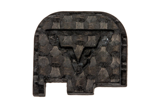 The Taran Tactical Glock 43 Carbon Fiber Back Plate features the TTI logo