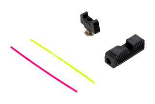 The Taran Tactical Innovations Ultimate Glock Fiber Optic Sights Set comes with red and green rods