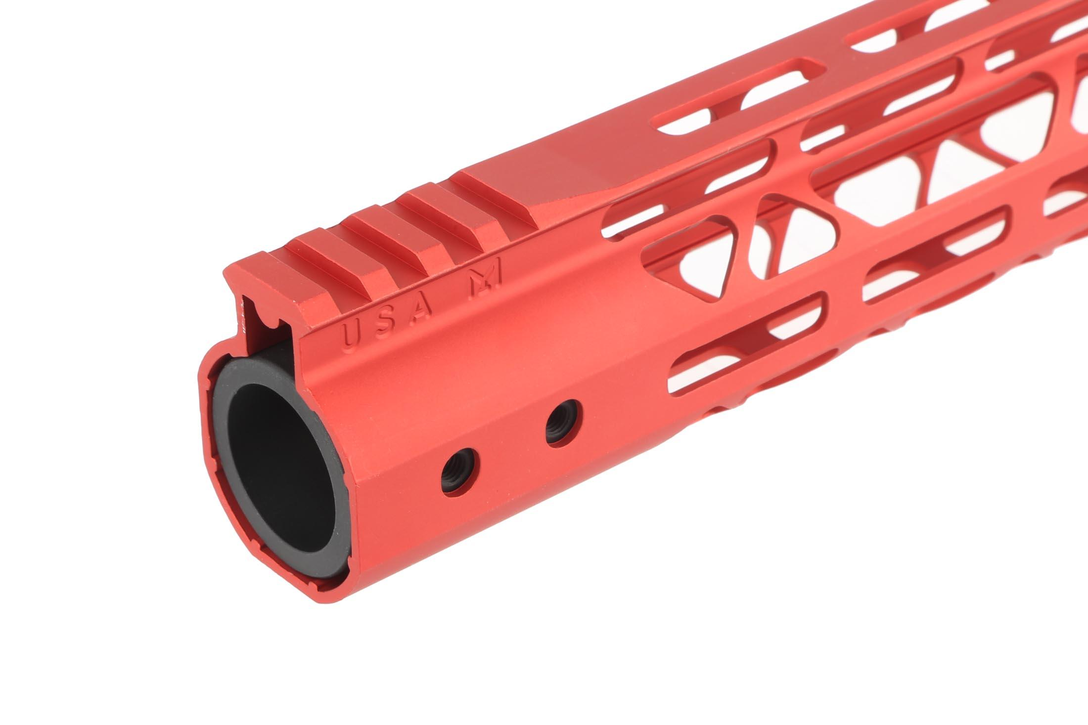 Guntec USA 10 MOD Lite Skeletonized Handguard - M-LOK - Red