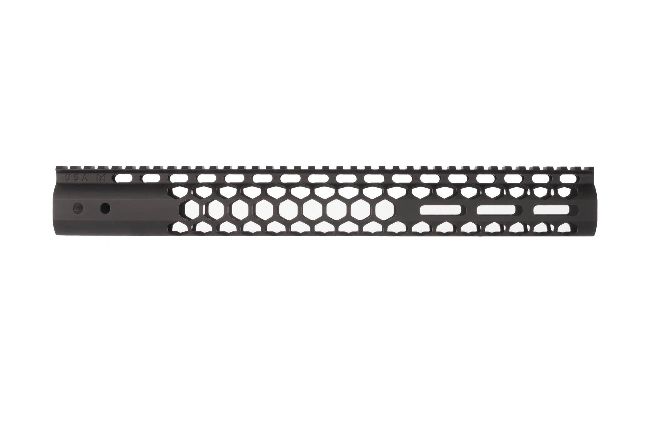 Guntec USA Air Lite 15in Honeycomb M-LOK AR-15 handguard with black finish places M-LOK at 3, 6, and o'clock positions.