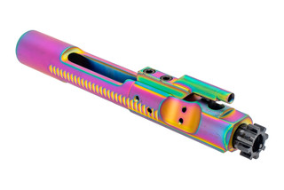 The Guntec AR15 bolt carrier group features a rainbow physical vapor deposition finish