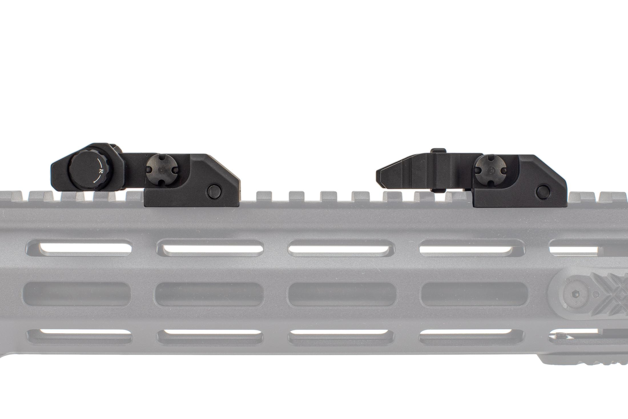 The Guntec Rapid Acquisition Precision Sights fold down to be extremely low profile