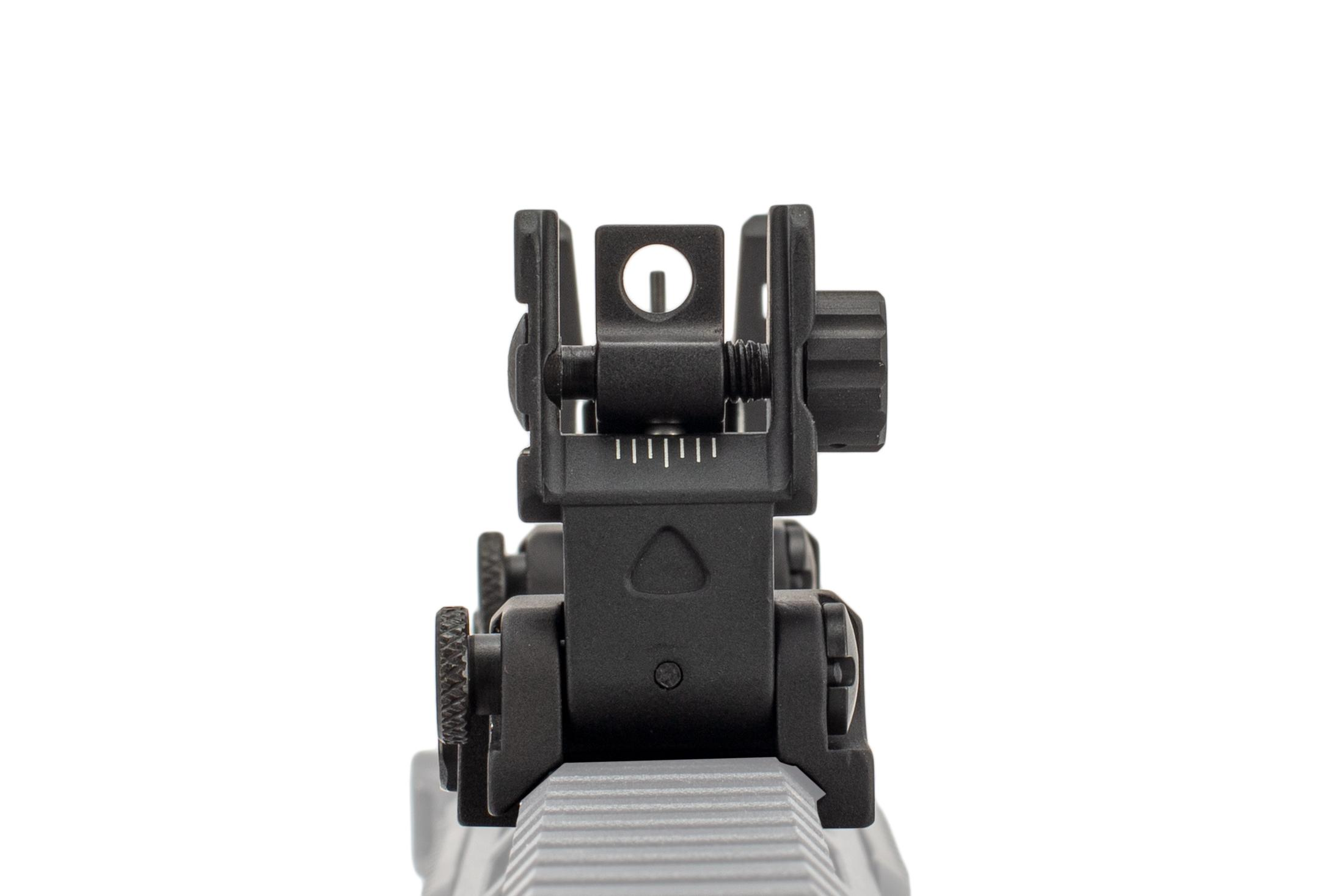 The Guntec Rapid Acquisition Sights features dual rear apertures and adjustable windage