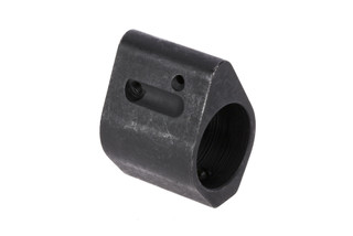 The Guntec USA AR15 Adjustable Low Profile Gas Block is made from steel and uses a set screw