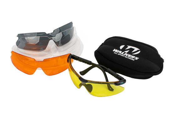 Walkers Sport Glasses with interchangeable lenses includes a convenient carry case