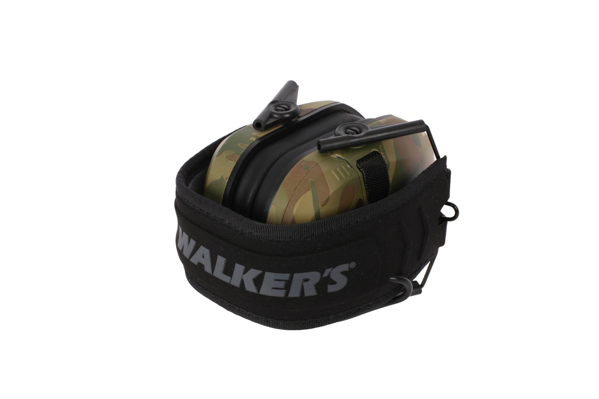 Walkers Razor Slim Electronic Hearing Muffs fold compact with a MultiCam finish