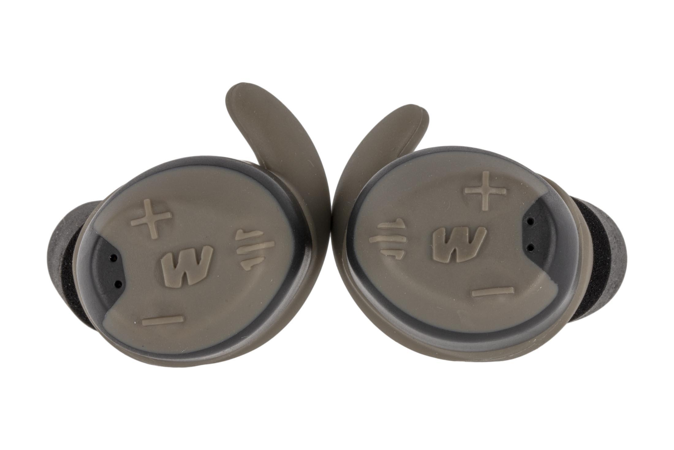 The walker's rechargeable bluetooth electronic hearing protection have a flat dark earth color