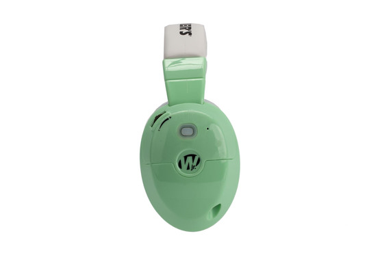 Walker's Youth active electronic hearing protective muffs are fun mint color and sized properly for children with 22dB reduction rating