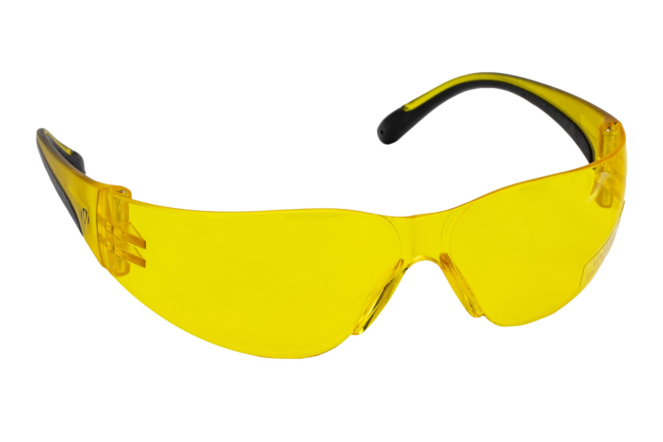The Walkers women/youth safety glasses features a wraparound style with yellow lenses