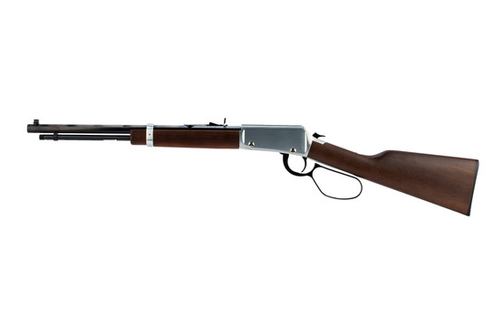 Henry 22 long rifle lever action features a 16.5 inch barrel