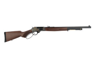 Henry 45-70 lever action rifle features a case hardened finish