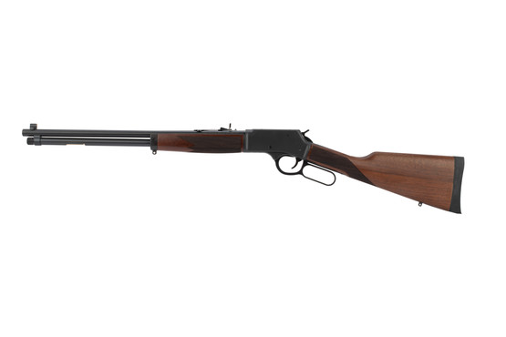 Henry lever action .357 Magnum rifle features an American walnut stock