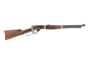 Henry 45-70 lever action rifle features a brass receiver