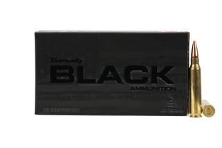 The Hornady Black ammunition .223 remington box of 20 features a boat tail hollow point bullet