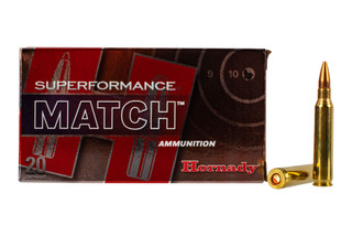 Hornady Superformance 5.56 Match ammo features a 75 grain hollow point boat tail bullet