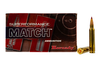 Hornady Superformance Match 5.56 ammo features a 73 grain boat tail hollow point bullet