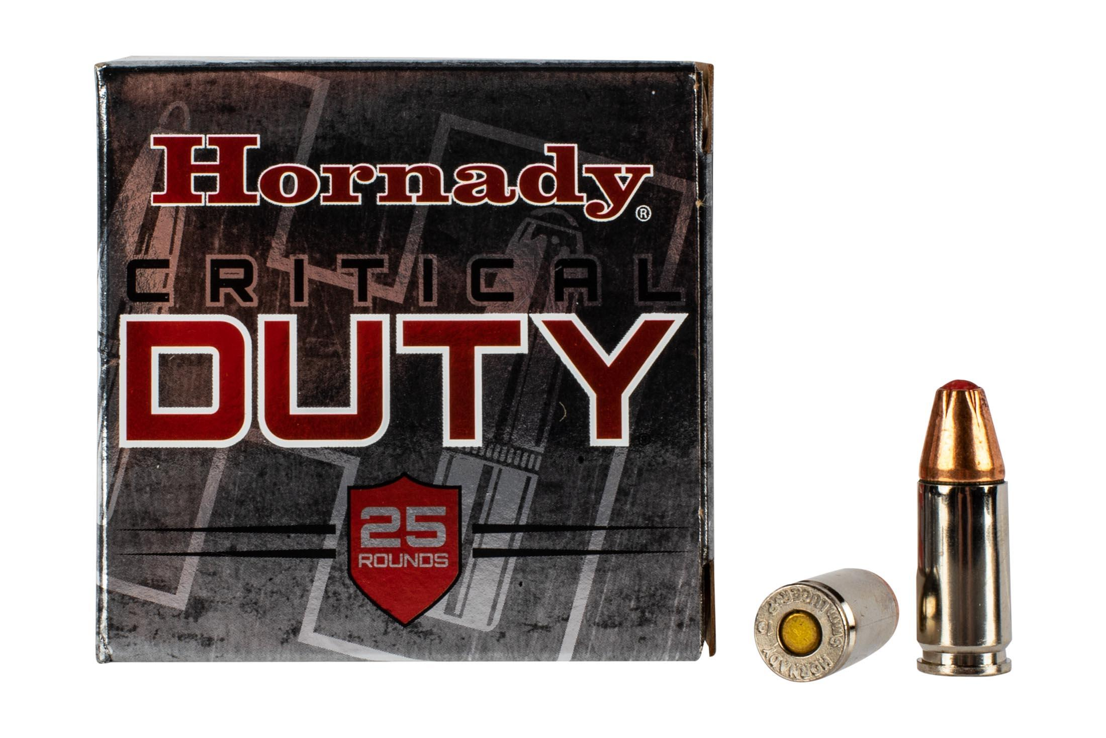 Hornady Critical Duty 9mm Hollow Point FlexLock ammo is loaded to +P pressures