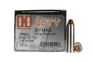 Hornady Critical Duty .357 Magnum 135 gr FlexLock ammunition has FlexLock style rounds with a nickel plated casing