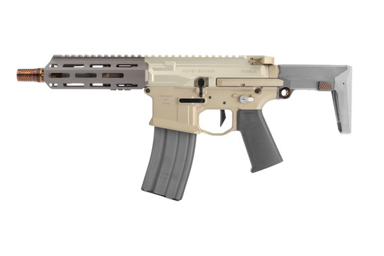 Q Honey Badger 300 Blackout AR15 SBR with Telescoping Stock features a cherry bomb muzzle brake