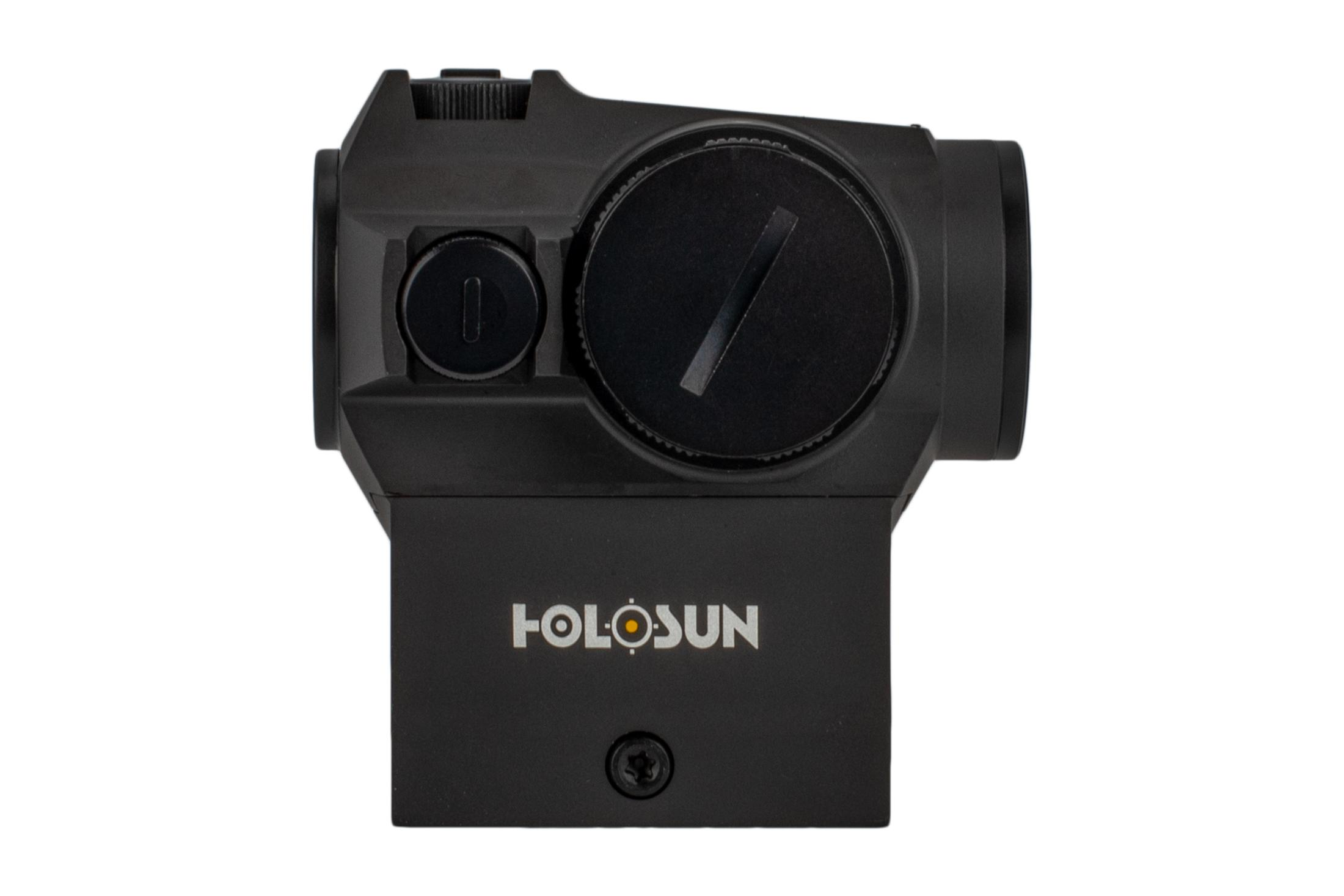 The Holusun HE403R-GD Gold Dot Sight features a rotary knob brightness adjustment