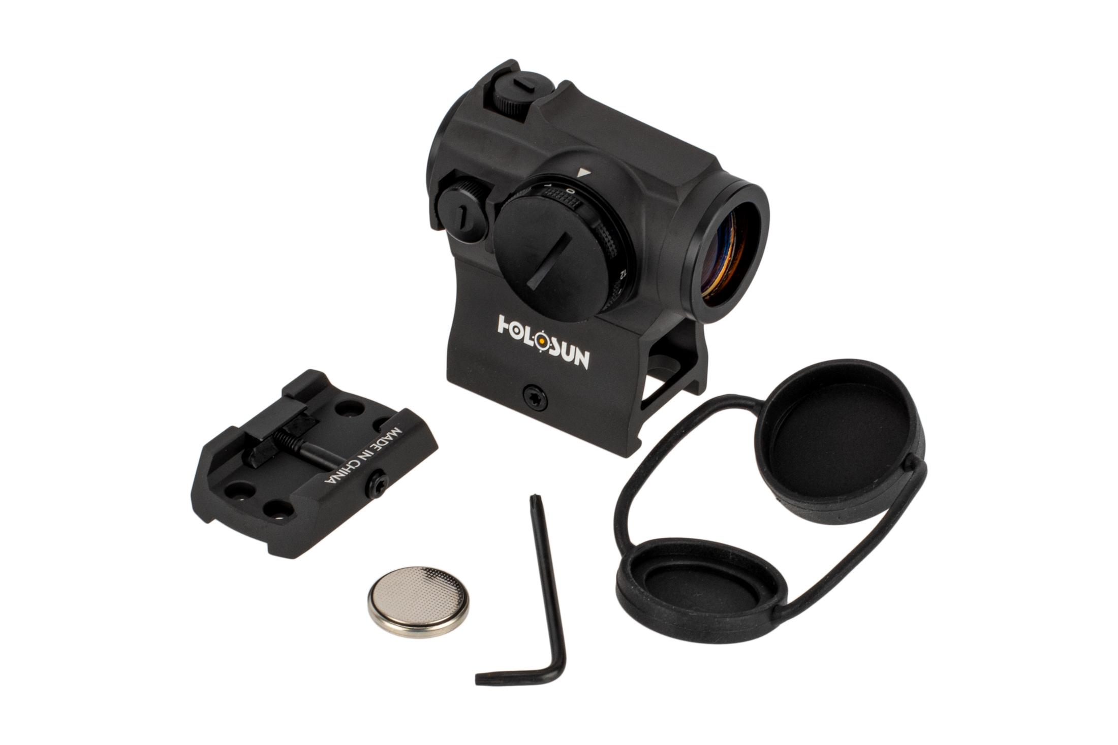 The Holosun HE403R-GD micro dot sight comes with a battery and lens covers