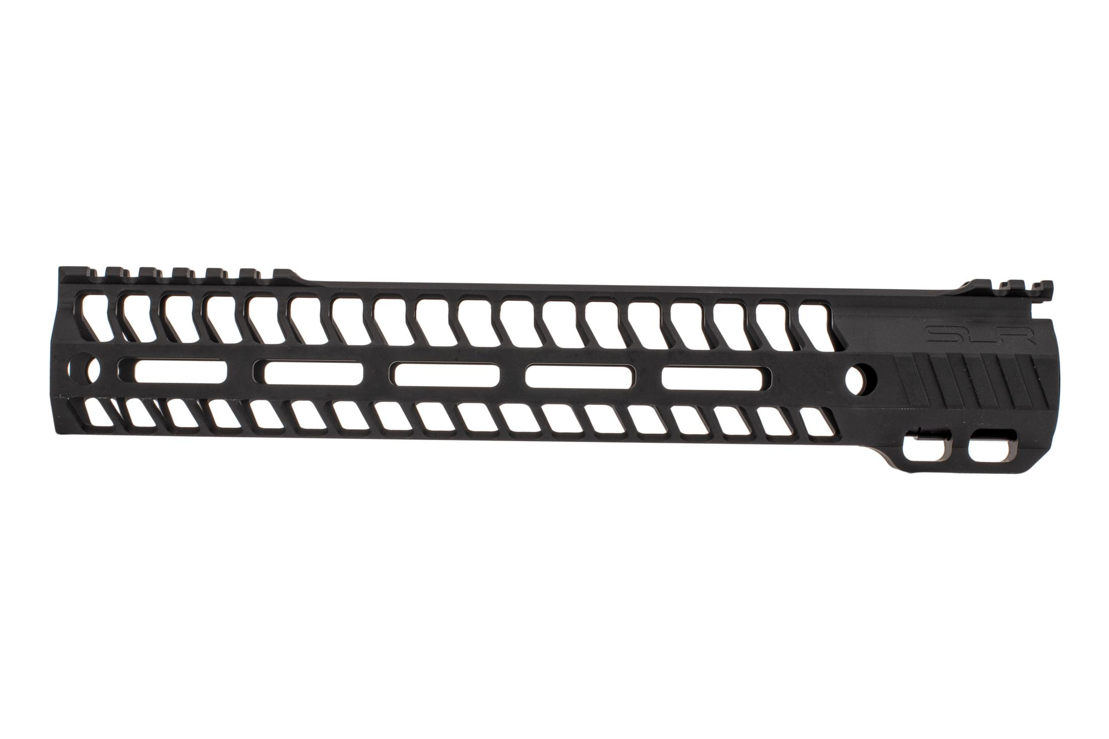 SLR Rifleworks M-LOK HELIX rail is 11.7 for AR15 with black anodized finish and interrupted top rail
