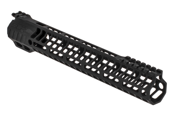 "SLR Rifleworks HELIX series 12.5"" M-LOK rail for the AR-15 with interrupted top rail with black anodized finish."